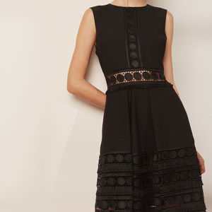 Ted Baker black lace detail cutout dress flare